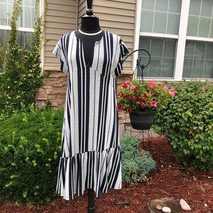 Zara TRF Asymmetrical Navy & Gray Striped Flounce